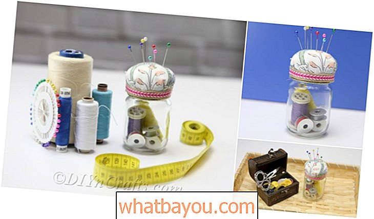 Kit de costura de bricolaje Organizador Pincushion Jar